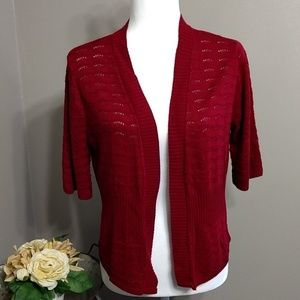 Kim Rogers Tops - Kim Rogers Cranberry Red Short Sleeve Shrug M